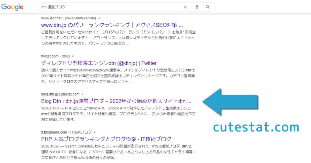 Googleの検索結果にCuteStat.comの複製スニペットが表示された
