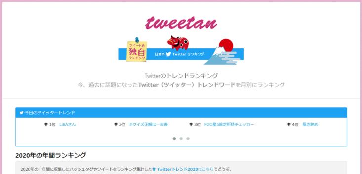 Twitterトレンドランキングサイトのツイータン