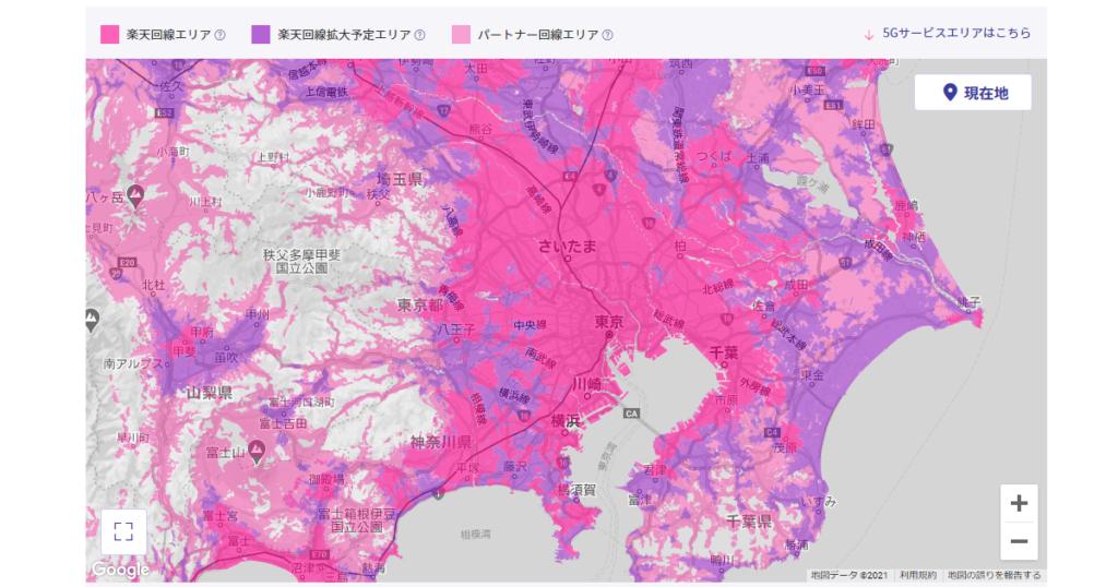 楽天モバイルの回線提供エリア(関東)