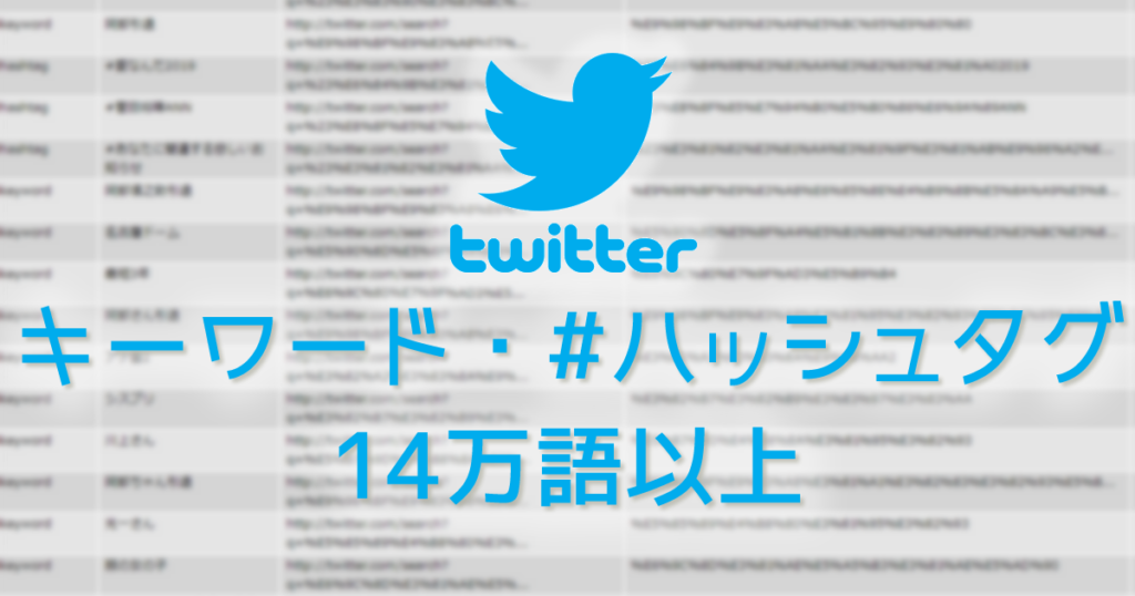 Twitterのトレンドワード、トレンドハッシュタグ14万語以上を登録