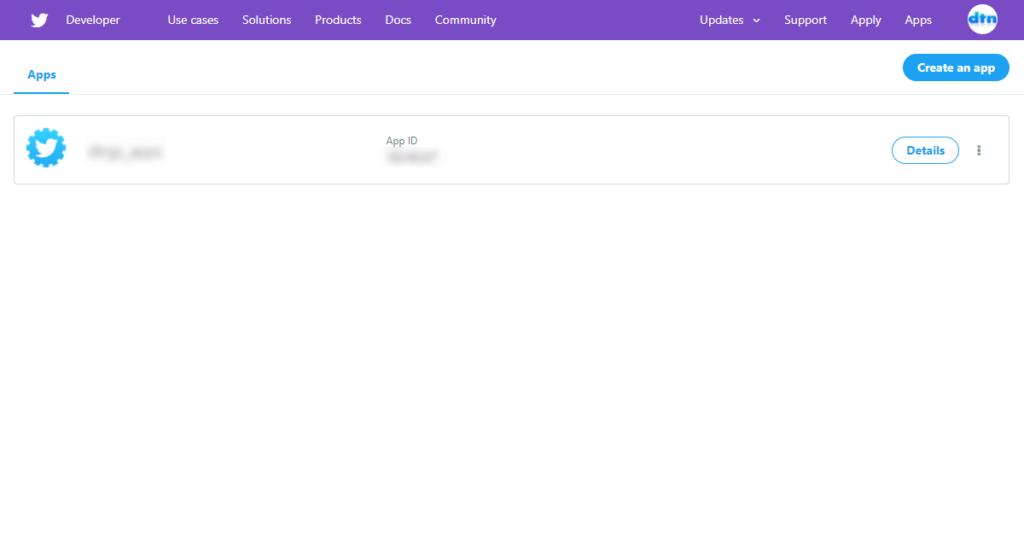 旧Twitter APIのdeveloper画面