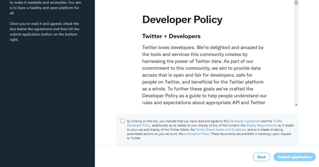 Twitter API Developer Portal - デベロッパーポリシー同意画面