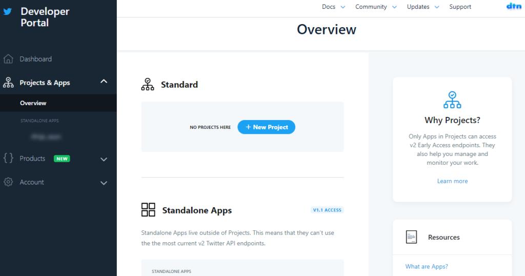 新しいTwitter API Developer Portal画面
