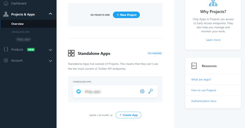 Twitter API Developer Portal画面でスタンドアロンAppの追加が可能