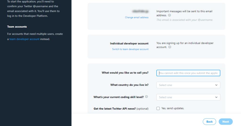 Twitter API Developer Portal - 個人情報の登録