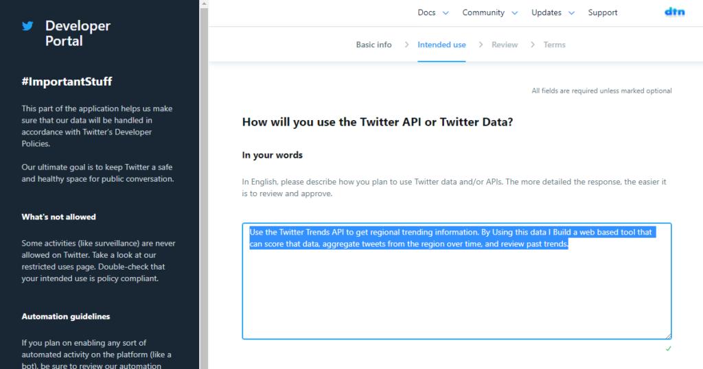 Twitter API Developer Portal - API使用目的の確認(英語で)