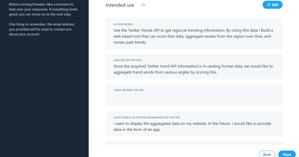Twitter API Developer Portal - 入力内容確認画面(英文回答)